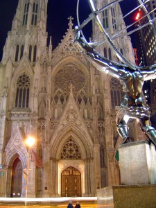 Atlas sculpture at Rockefeller Center across the street from Saint Patrick's Cathedral in Manhattan (from Wikipedia.)