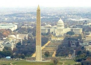 Phallic Washington Monument with Capitol Dome womb.